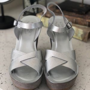 Size 10 Silver Kork Ease Wedges. Worn once